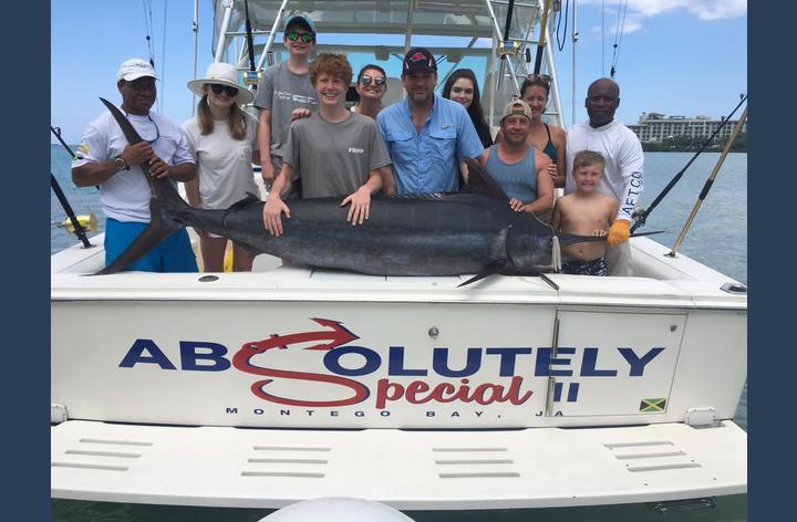 Boat rental available.  Shown here is our first 250 lb Marlin catch!